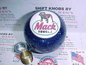 Mack Logo #2  Custom Shift Knob    Car, Truck,  (Blue W/ Glitter)