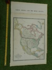100% ORIGINAL LARGE NORTH AMERICA TEXAS MAP BY JAMES WYLD  C1849 VGC COLOURED