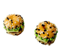 1:12 Dolls House Miniature poppy seed Burger bagel-Food-kitchen-Pub-accessory