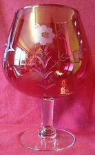 VINTAGE Hand Blown & Etched Ruby Red Large Crystal Goblet.