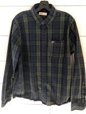 Hollister Men's Button Up Plaid Shirt Size XL Green/Blue EUC