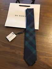 New Authentic Burberry Nova Check Plaid Logo Men Tie Haymarket Navy Green $165