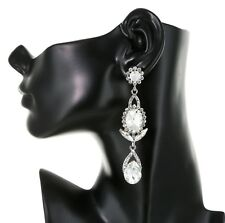 """3.45"""" Long Rhinestone Clear Chandelier Bridal Prom Party Pageant Stud Earring"""