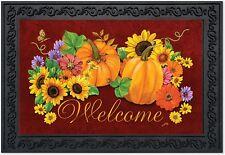 """Fall Glory Floral Doormat Welcome Pumpkins Indoor Outdoor 18"""" x 30"""""""