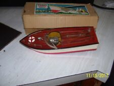 "1950's Battery Operated Wooden Toy Speed boat-Japan-10"" with box"