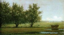 Large Oil painting Martin Johnson Heade - Landscape with Hay Wagon in spring