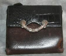 rM- PURSE WALLET BY BRIGHTON IN GREAT SHAPE BROWN/BLACK SILVER ACCENT GENTLE USE