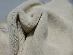 sheepskin shearling leather hide Off White Thick Plush Hair w/Brown Nubuck back