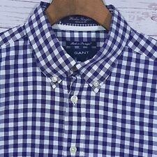 ⭐ Mens Gant Washer Gingham Check Regular Fit LS Shirt Size Medium Purple
