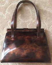 DOLCE & GABBANA Brown/Copper Patent Leather Handbag Purse~Italy~Beautiful!