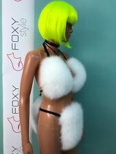 Pure white fox fur bikini.