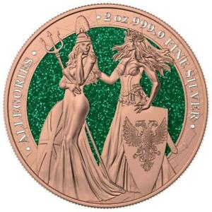 Germania 2019 10 Mark The Allegories Britannia Gilded Green 2 Oz 999 Silver Coin