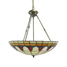 "Antique Brass And Leaded Stained Glass Chandelier/Pendant 22"" x 24"""