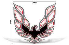 "42"" X 42"" Firebird Hood Graphic Decal Sticker For Pontiac Trans Am RED GREY"