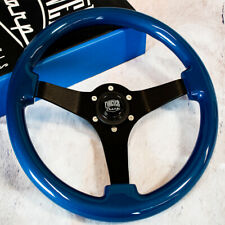 "14"" Blue JDM Steering Wheel with Brushed Black Spokes and Horn Button"