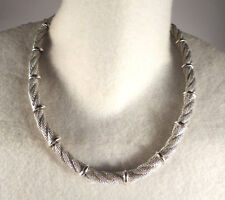 Vintage Monet Signed Mesh Rope Look Chain Link Necklace Hook Clasp Silver Tn Adj