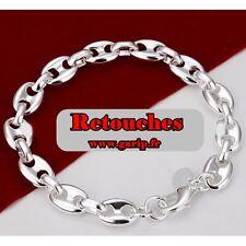 Bracelet grains de cafe plaqué argent 925 20 cm 8mm mixte homme femme