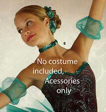 New Ballet Dance Accessories set Jade Tulle Sleeves Flower Wreath Sequin Choker