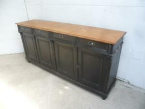 A Lovely Reclaimed Pine Painted Black & Waxed 4Door Dresser Base / TV Stand