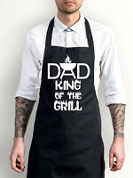Dad King Of The Grill Apron, Funny BBQ Cooking Novelty Chef Essential Bib Apron