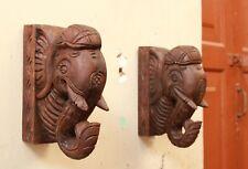 Elephant Corbel Pair Wall Bracket Wooden Handmade Sculpture Home Decor Statue
