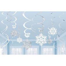 CHRISTMAS 12 SNOWFLAKE SWIRLS SNOWFLAKES FROZEN WONDERLAND SILVER AND WHITE