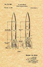 Patent Print - Wernher Von Braun Rocket Propelled Missile - Ready To Be Framed!