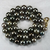 South Sea Tahitian Black Pearl Necklace 14k Gold Hand Knotted Strand