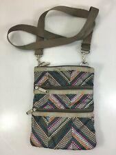 LeSportSac Kasey 3 Zipper Crossbody Shoulder Bag Handbag Polka Dot Zig Zag