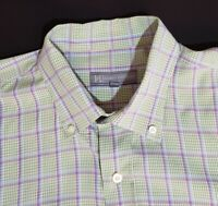 HICKEY FREEMAN Men's Large Button Down Dress Shirt Green Check Plaid Long Sleeve