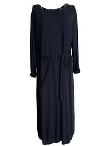 H&M Women's Midi Jumper Dress Size 16 Black Belted 3/4 Sleeved With Angora Wool