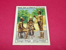 CONGO BELGE CHEFS INDIGENES RARE CHROMO CHOCOLAT PUPIER ALBUM AFRIQUE 1938