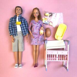 Pregnant Midge Barbie Doll Alan Happy Family Baby Bump Crib Lot