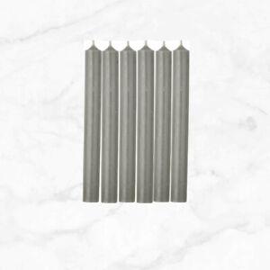 IHR Dinner Candles Bistro Style, Unscented, Set of 6, 25cm x 2.2cm Grey