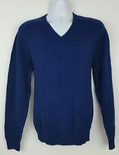 Lands' End Wool Blend Men's V-Neck Sweater Blue Size M