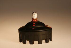 Deco Taussaunt Black Satin Glass Court Jester Powder Jar Hand Painted c.1930