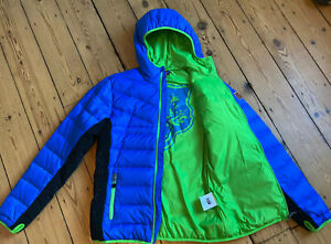 BNWOT ONITSUKA TIGER blue green trim hooded down sports jacket M thumb holes