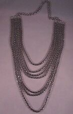 Vintage Seven Strand Silver Tone Snake Chain Necklace with Rhinestone Ends 24""