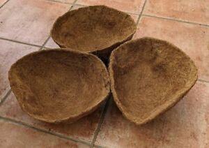 """Hanging Basket Liner Set of 3 Moulded Coco Moss 12"""" - 16"""""""