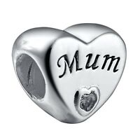 Mother's Day Gift 925 Sterling Silver European Bead Love Mum Charms Fit Bracelet