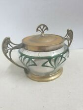 Antique WMF sugar bowl Metal and Glass Art Nouveau Style Hand Painted
