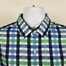 Banana Republic Grant Fit Non Iron Mens Blue Green Check Dress Shirt Large L