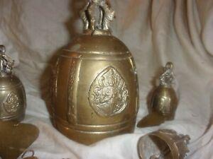 "6--Vintage hand made Hindu bronze bells-6 3/4"",3 1/2"", 3"", 8 1/2"" strand"