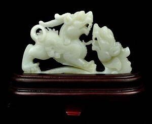 Natural White Nephrite Jade Pixiu Statue Chinese Fengshui Sculpture certificate