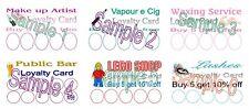 LOYALTY CARDS 50 MOBILE  MAKE UP ARTIST WAXING VAPE E CIG LEGO LASHES PUB BAR