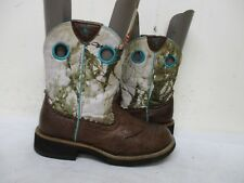 ARIAT Brown Leather Snow Camo Short Cowboy Boots Women Size 6.5 B Style 10009503