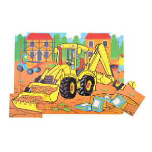 Bigjigs Toys Chunky Wooden Children's Tray Puzzle (Digger) Jigsaw Educational