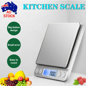 Kitchen Scale 500g Digital Postal LCD Electronic Weight Scales Food Fruit Silver