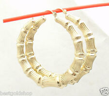 "1 3/4"" 45mm Large Graduated Bamboo Hoop Earrings REAL 14K Yellow Gold 5.1gr"