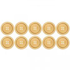 Knopf Set aus beigefarbenen Holz hell rund Basteln Nähen Dekoration 4 Loch